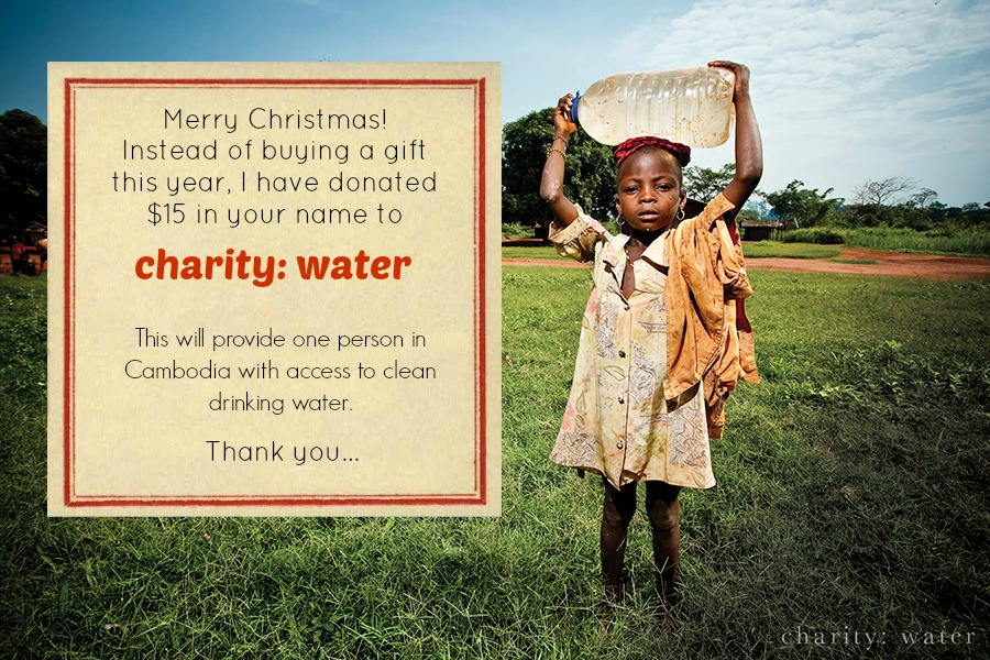 Gift ideas - Donate to charity: water - Cheerfully Imperfect