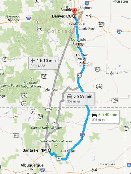 route from santa fe to denver
