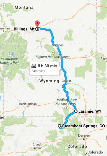 Route for Day 4 and 5. Steamboat Spring to Laramie on Day 4 and Laramie to Billings on Day 5.