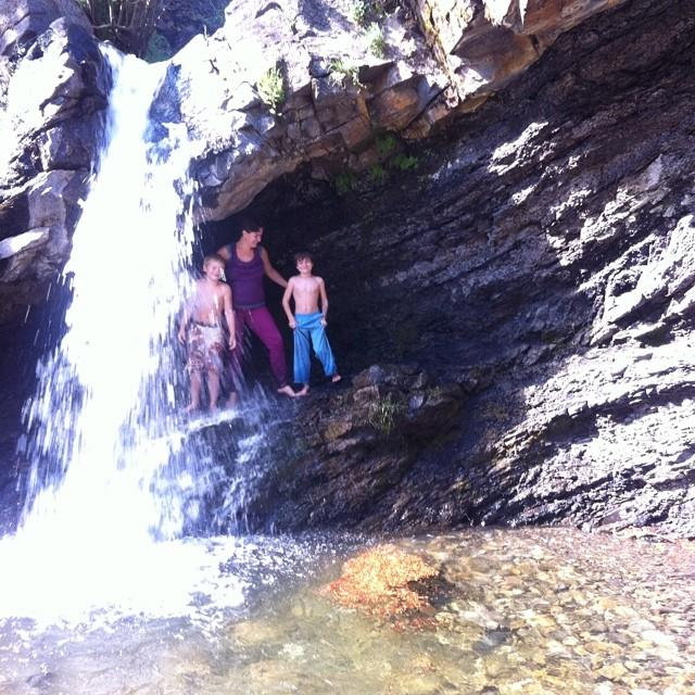 Our first full day here we hiked to these little falls and splashed and played in them
