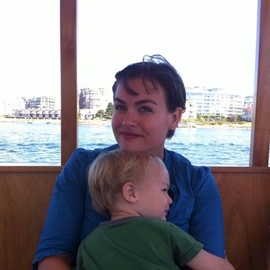 Taking the boat taxi across the harbor to Fisherman's wharf. Some mid sail snuggles.