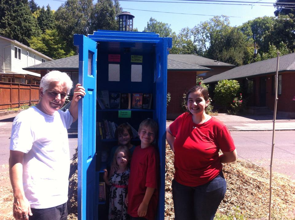 We had lunch with my cousin in Portland and in his neighborhood there is an amazing little free library designed like the tardis. This brought delight.