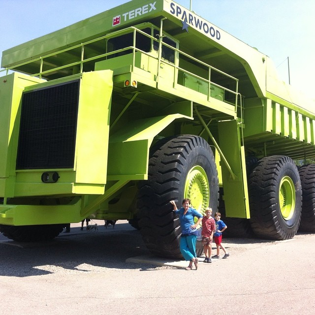 Today we visited the world's biggest truck, which is much like the one Grandpa John drives for work at the mine